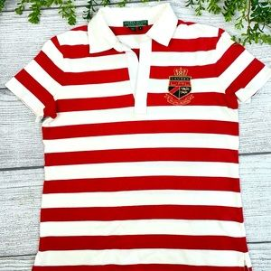 Ralph Lauren Active Red Stripe Crested Polo S